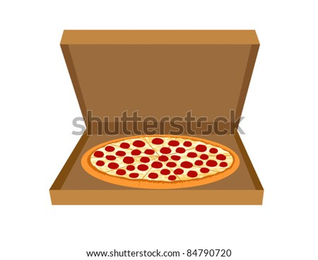 Pepperoni Pizza in a Delivery Box - Vector Illustration. (high resolution JPEG also available). - stock vector