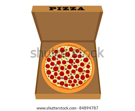 Pepperoni Pizza in Pizza Box - Vector Illustration. (high resolution JPEG also available). - stock vector
