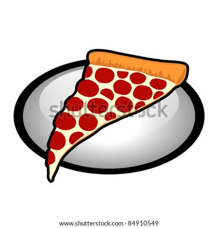 Pepperoni Pizza Slice Symbol with White Oval  - Vector Illustration. (high resolution JPEG also available). - stock vector