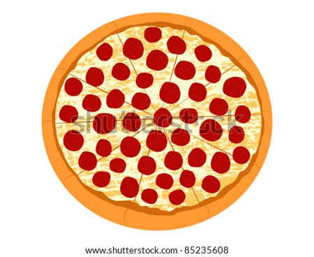 Pepperoni Pizza - Vector Illustration - stock vector
