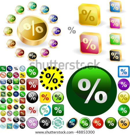 Percent button set. Vector great collection. - stock vector