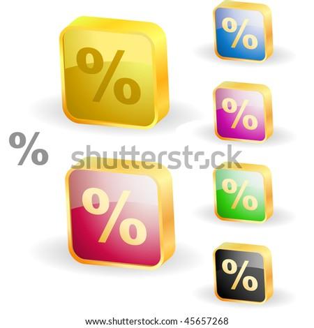 Percent button set. Vector illustration. - stock vector