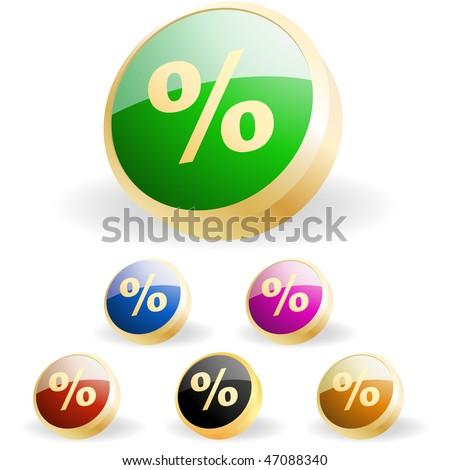 Percent button set. Vector set. - stock vector