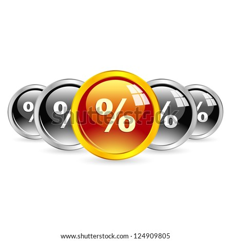 Percent buttons. - stock vector