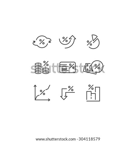 Percent icons. Outline and ready to use web icons for financial and commerce. Vector abstract design - stock vector
