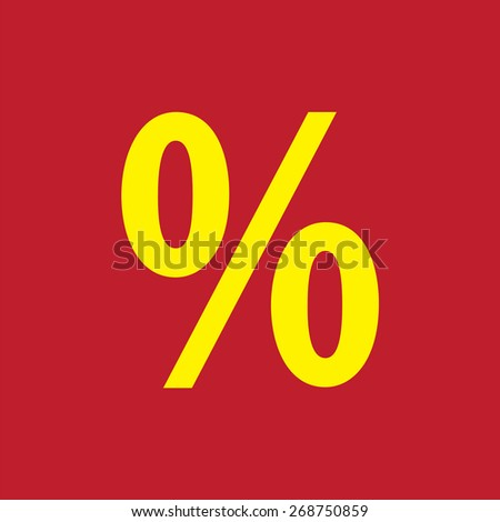 Percent sign icon warning sign. Flat design style - stock vector