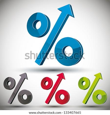 Percent up vector 3d icon set. - stock vector