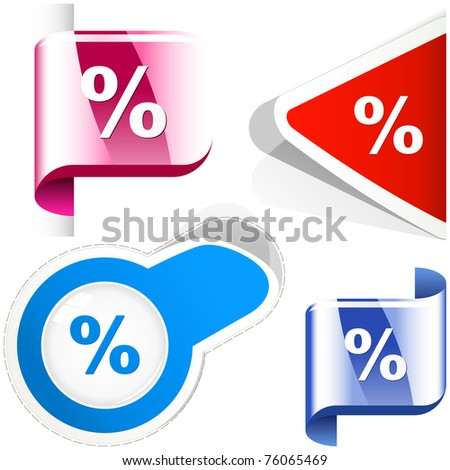 Percent. Vector set. - stock vector