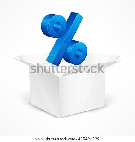 Percentage sign in open box vector illustration - stock vector