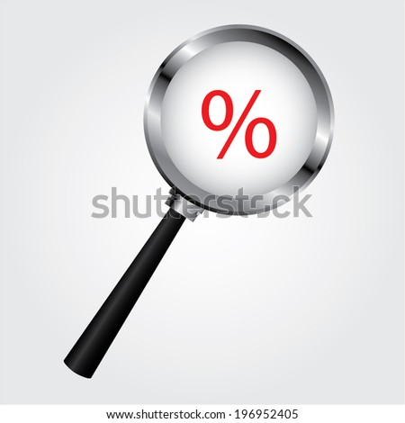 percentage sign under a magnifying glass, with isolated background - stock vector