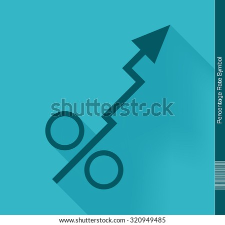 Percentage symbol. Flat design with long Shadow. - stock vector