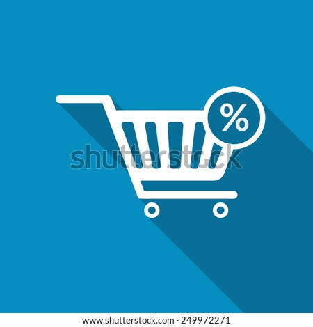 Percentage symbol on shopping cart, isolated on blue background. Modern design flat style icon with long shadow effect - stock vector