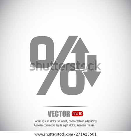 percentages up and down Flat design style - stock vector