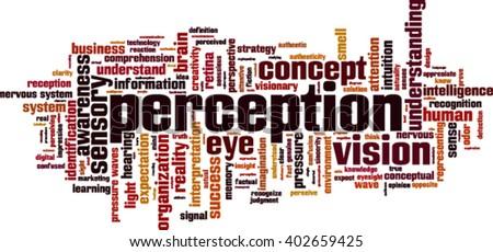 Perception word cloud concept. Vector illustration - stock vector