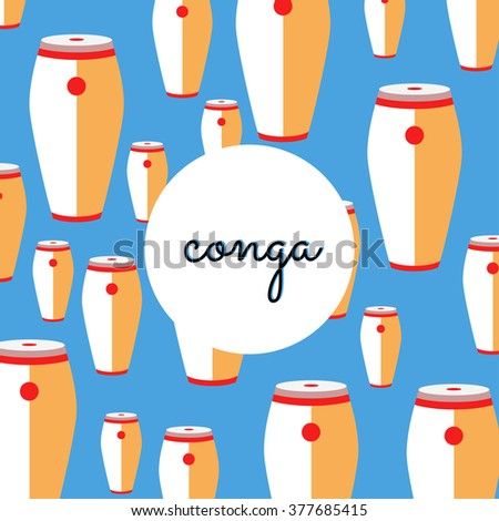 percussion conga on colored background with text - stock vector