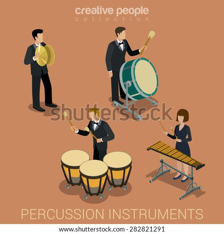 Percussion instrument musicians flat 3d web isometric infographic concept vector. Group of creative young people playing on classic instruments scene theater opera concert. Cello violin clarinet. - stock vector
