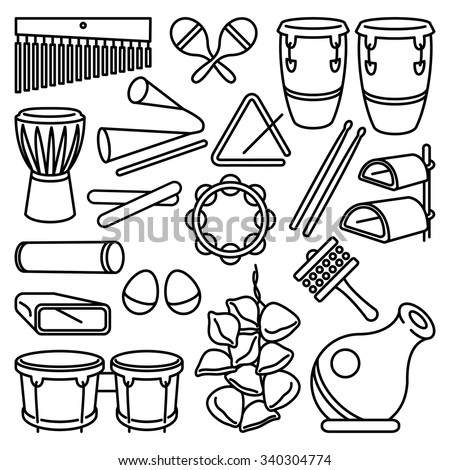 Percussion Instruments Vector Drawing Set Latin 340304774