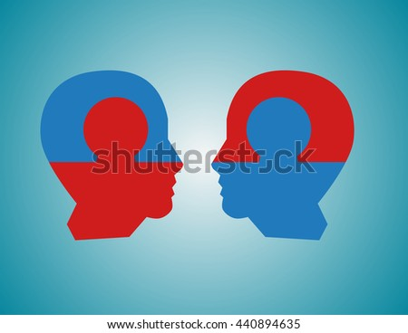 Perfect business partnership as a connecting puzzle shaped as two puzzle in the form of human heads connecting together as a corporate success metaphor for cooperation and agreement as equal partners. - stock vector