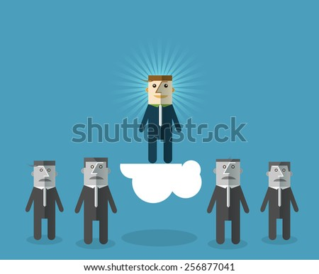 Perfect businessman: Choosing the talented person for hiring. Human Resources concept .Vector illustration - stock vector