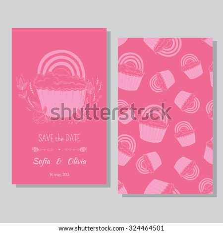 Perfect card templates with cute hand drawn cupcake  and  rainbow. Lesbian couple card  for wedding invitations, Valentine's day. - stock vector
