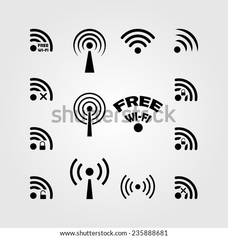 Perfect collection of different black vector wireless and wifi icons for remote access and communication via radio waves - stock vector
