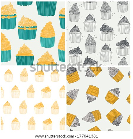 Perfect collection of 4 seamless patterns with cup cakes. Vector file organized in layers for easy editing. - stock vector
