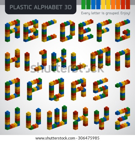 Perfect 3D alphabet from the multicolor plastic constructor. Modern design. - stock vector