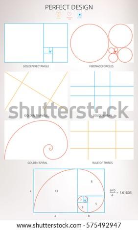 Furniture Design Golden Ratio perfect design golden ratios vector illustration stock vector