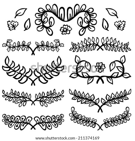 Perfect Elegant Hand Drawn Design Elements of Branches with Leaves - stock vector