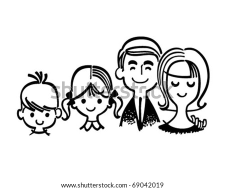 Perfect Family - Retro Clipart Illustration