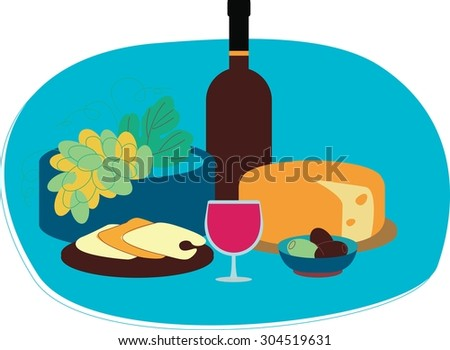 Perfect flat design illustration of wine topic. Tasty food for your needs, web, banners, infographic, pack and other - stock vector