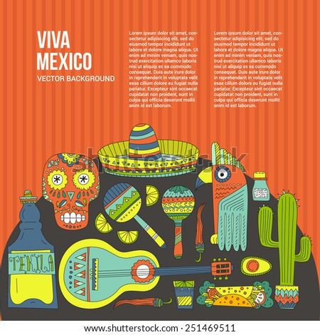 Perfect hand drawn card template with mexican symbols - avocado, cactus, skull, guitar, sombrero, tequila, taco, skull, aztec mask, music instruments.  - stock vector