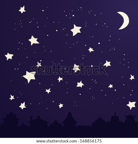 Perfect illustration of dark city with moon and stars. Cute city silhouette on dark sky background. Vector file organized for easy editing. - stock vector