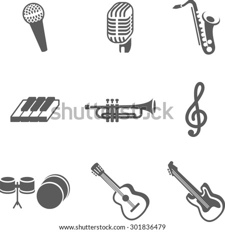 Perfect monochrome isometrical set of volume musical instrument. Use it for infographics, web, poster or at you will. Here is piano, guitar,microphone, note and other - stock vector