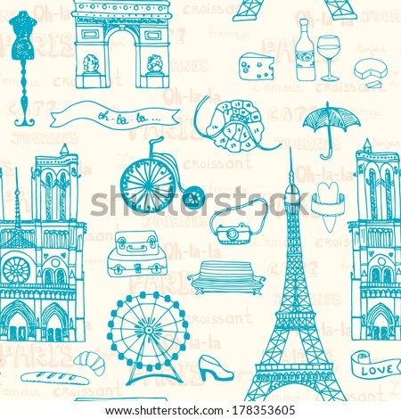 Perfect Paris seamless pattern with all symbols of a capital  - stock vector