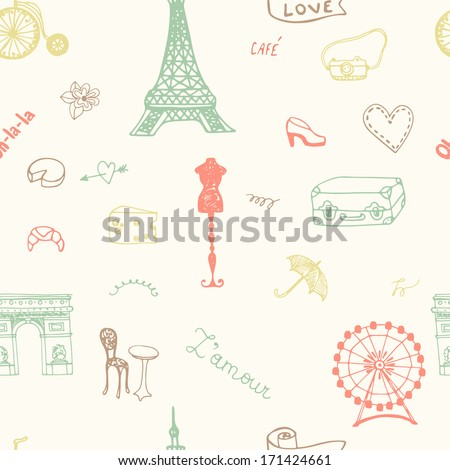 Perfect Paris seamless pattern with all symbols of a capital of France. French style texture. - stock vector