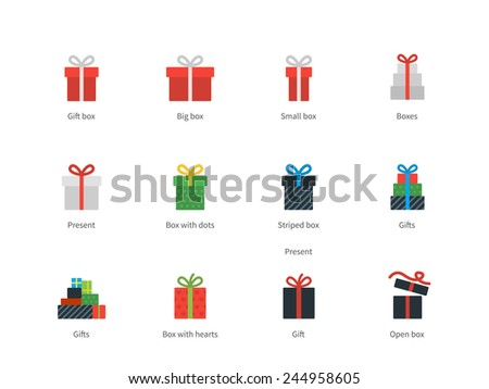 Perfect pictogram collection of shop and present objects, red gift box, big and small packages, open box and abstract box with hearts. Flat design style icons set. Isolated on white background. - stock vector