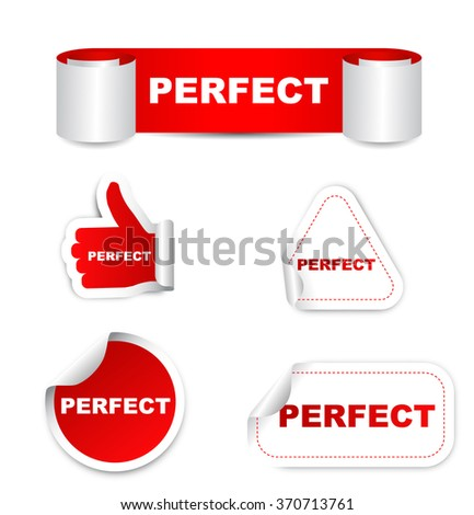 perfect, red vector perfect, red sticker perfect, set stickers perfect, element perfect, sign perfect, design perfect, picture perfect, illustration perfect, perfect eps10, paper sticker perfect - stock vector