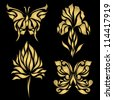 Perfect retro gold floral butterfly isolated on beautiful black background with your text, vector eps 8, for sign, symbol, icon, web, emblem, label - stock vector