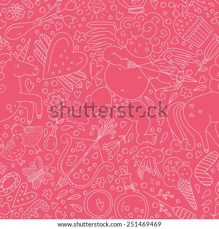 Perfect romantic seamless vector pattern with all main love elements. Valentines day background. Handdrawn doodle texture.  - stock vector