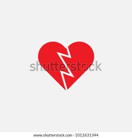Perfect Shape Broken Heart Symbol Stock Vector Royalty Free
