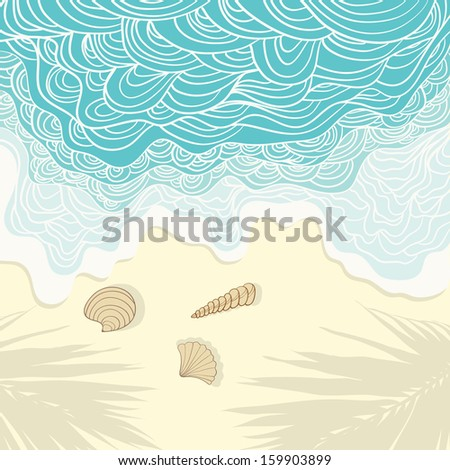 Perfect tropical paradise illustration with blue sea and white sand, palm tree shadows and shells on the background. Travel card. Elegant fully editable travel illustration drawn in vector by hand. - stock vector