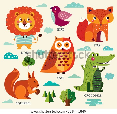 Perfect vector set of illustration in cartoon naive style with funny animals and birds. Lovely cute animals: lion, fox, owl, bird, crocodile, squirrel. Fun alphabet with animals - stock vector