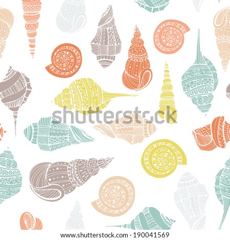 Perfect vintage vector seamless pattern with white seashells. Beautiful tropical background design  Cute fully editable illustration drawn in vector by hand.  - stock vector