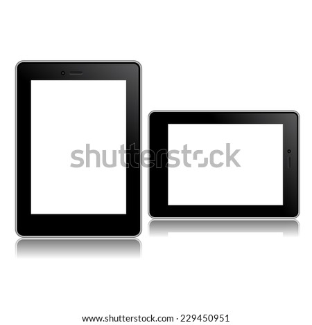Perfectly detailed modern black tablet mockups with blank screen isolated on white background. Vector illustration. for printing and web element, Game and application mockup.