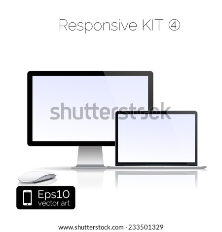 Perfectly detailed modern laptop and glossy monitor isolation with computer mouse. EPS 10 illustration - stock vector