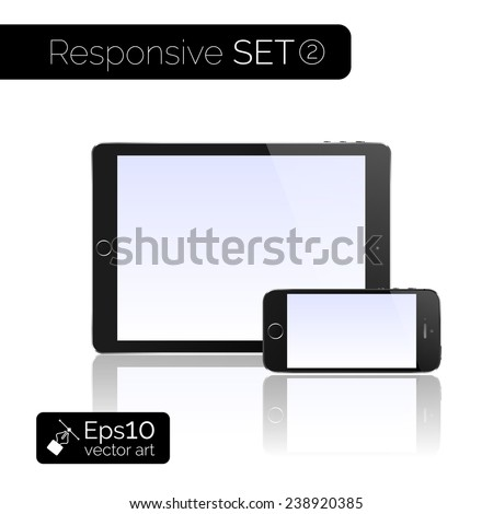Perfectly detailed modern tablet pc computer isolation vector on white background. Vector eps10 illustration