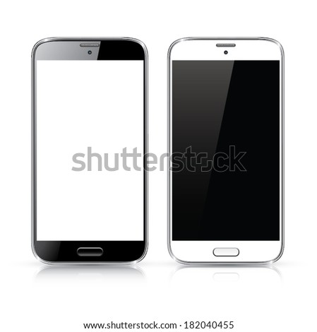 Perfectly detailed vector of modern new black and white smartphones isolated on white - stock vector