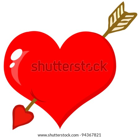 Perforated Heart With Arrow - stock vector