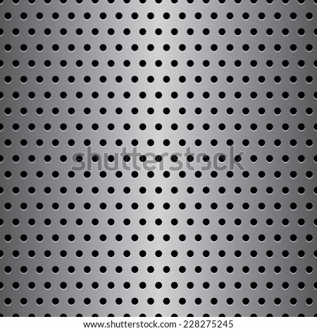 Perforated metal pattern with round holes. Seamless background. Vector illustration - stock vector